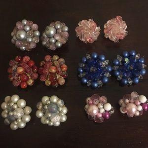 Vintage Lot of Cluster Earrings
